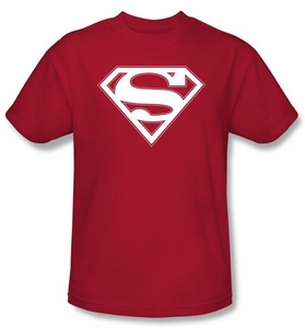 Superman Logo T-Shirt Red & White Shield Adult Red Tee Shirt