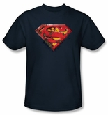 Superman Logo T-shirt Rusted Shield Adult Navy Blue Tee Shirt