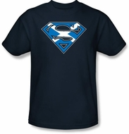 Superman Logo T-shirt Scottish Shield Scotland Adult Navy Tee Shirt