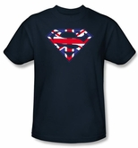 Superman Logo T-shirt UK British Shield Navy Blue Adult Tee Shirt
