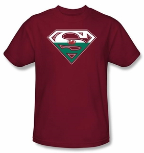 Superman Logo T-shirt  Welsh Shield Adult Cardinal Red Tee Shirt