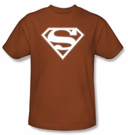 Superman Logo T-shirt - White Shield Adult Texas Orange Tee