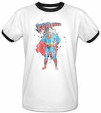 Superman Ringer Shirt Vintage Ink Splatter Adult White/Black Shirt