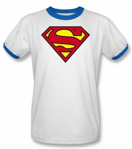 Superman Ringer T-shirt Classic Logo Shield White/Royal Tee Shirt