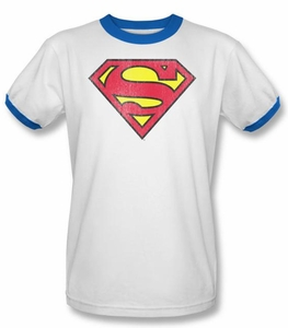Superman Ringer T-shirt Retro Supes Distressed White/Royal Tee Shirt