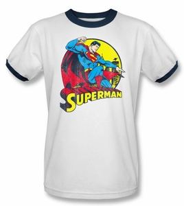Superman T-shirt Big Blue Adult White/Navy Ringer Tee Shirt