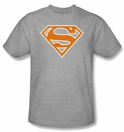 Superman T-shirt Burnt Orange And White Shield Adult Gray Tee Shirt