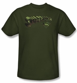 Superman T-shirt Camo Logo And Shield Adult Army Green Tee Shirt