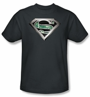 Superman T-shirt Circuitry Logo Adult Charcoal Gray Tee Shirt