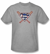 Superman T-shirt Crossed Baseball Bats Athletic Heather Tee Shirt