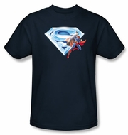 Superman T-shirt Crystal Logo Shield Adult Navy Blue Tee Shirt