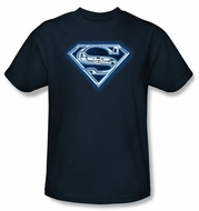 Superman T-shirt Cyber Shield Adult Navy Blue Tee Shirt