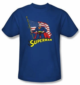 Superman T-shirt DC Comics American Flag Adult Royal Blue Tee Shirt
