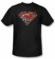 Superman T-shirt  DC Comics Breaking Chain Logo Adult Black Tee Shirt