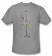 Superman T-shirt DC Comics Clark Kent Adult Silver Tee Shirt