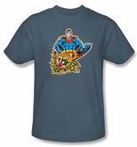 Superman T-shirt DC Comics Doomed Planet Adult Slate Tee Shirt