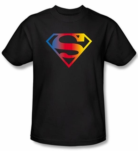 Superman T-shirt DC Comics Gradient Shield Logo Adult Black Tee Shirt