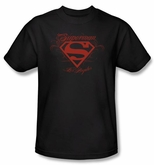 Superman T-shirt DC Comics Los Angeles LA Shield Adult Black Tee Shirt