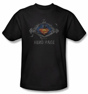 Superman T-shirt DC Comics Nerd Rage Adult Black Tee Shirt