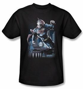 Superman T-shirt DC Comics Night Fight Adult Black Tee Shirt