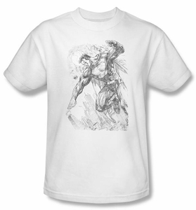 Superman T-shirt DC Comics Pencil City Sketch Art White Tee Shirt