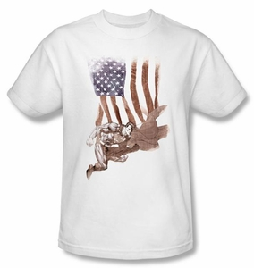 Superman T-shirt DC Comics Super American Flag Adult White Tee Shirt