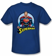 Superman T-shirt Flying High Again Adult Royal Blue Tee Shirt