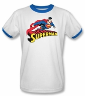 Superman T-shirt Flying Over Logo Adult White/Royal Ringer Tee Shirt