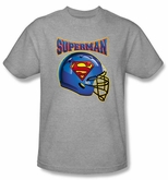Superman T-shirt  Football Helmet Adult Gray Tee Shirt