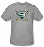 Superman T-shirt - Fore! Golf Clubs Adult Heather Gray Tee Shirts
