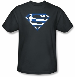 Superman T-shirt  Greek Shield Logo Adult Navy Blue Tee Shirt