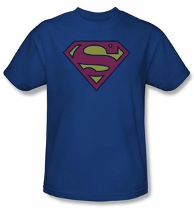 Superman T-shirt Little Logos Shield Adult Royal Blue Tee Shirt