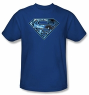 Superman T-shirt On Ice Shield Logo Adult Royal Blue Tee Shirt
