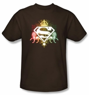 Superman T-shirt Ornate Lion Shield Adult Brown Tee Shirt