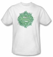 Superman T-shirt Ornate Shield Adult White Superhero Tee Shirt