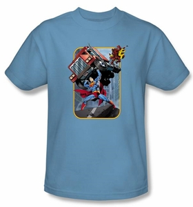Superman T-shirt Pick Up My Truck Adult Royal Blue Tee Shirt