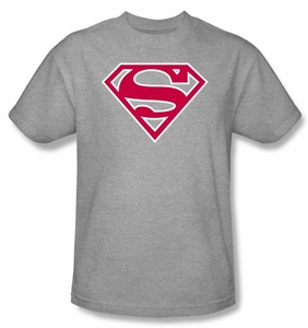 Superman T-shirt Red And White Logo Shield Collegiate Heather Gray Tee