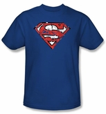 Superman T-shirt Ripped And Shredded Shield Adult Royal Blue Tee Shirt