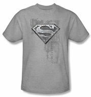 Superman T-shirt Riveted Metal Logo Adult Heather Gray Tee Shirt