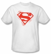 Superman T-shirt Spray Paint Shield Adult White Superhero Tee Shirt
