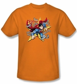 Superman T-shirt Stars And Chains Superhero Adult Orange Tee Shirt