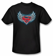 Superman T-shirt Steel Wings Logo Adult Black Tee Shirt