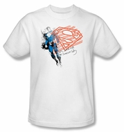 Superman T-shirt Superhero American Flag Adult White Tee Shirt