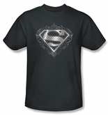 Superman T-shirt Tribal Steel Logo Adult Charcoal Gray Tee Shirt