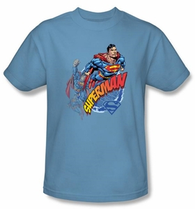 Superman T-shirt Up Up And Away Adult Carolina Blue Tee Shirt