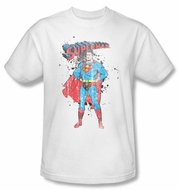 Superman T-shirt Vintage Ink Splatter Adult White Tee Shirt
