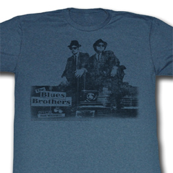 The Blues Brothers Shirt Blues Vintage Adult Blue Heather Tee T-Shirt