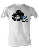 The Blues Brothers T-shirt Hat and Glasses Adult White Tee Shirt