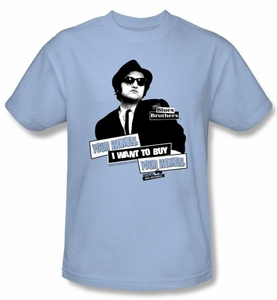 The Blues Brothers T-shirt Movie Adult Light Blue Tee Shirt