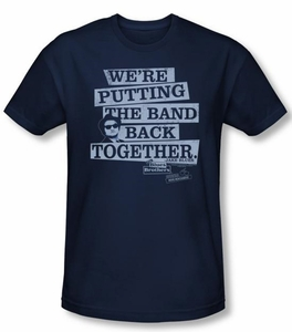 The Blues Brothers T-shirt Movie Band Back Navy Blue Slim Fit Shirt